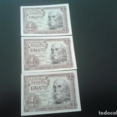 Billetes españoles: TRIO BILLETES CORRELATIVOS 1 PESETA 22 JULIO 1953 NUEVAS. Lote 145735558