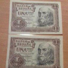 Billetes españoles: LOTE 3 UNIDADES CORRELATIVAS - BILLETE 1 PESETA 1953 SERIE 1A. CORRELATIVOS. EBC S/C. Lote 145806758