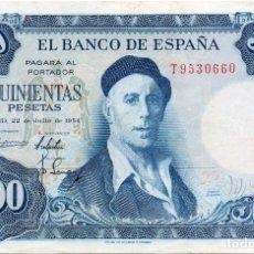 Billetes españoles: BILLETE ESPAÑOL 500 PESETAS IGNACIO ZULOAGA EBC MADRID 22 JULIO 1954. Lote 145892894