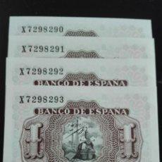 Billetes españoles: 4 BILLETES CORRELATIVOS EMISIÓN JULIO 1953 PLANCHA. Lote 146089546