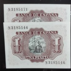 Billetes españoles: 2 BILLETES CORRELATIVOS EMISIÓN JULIO 1953 PLANCHA. Lote 146089874