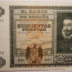 Billetes españoles: BILLETE 500 PESETAS 1940 BC JUAN AUSTRIA SERIE A 2405132 VER DETALLES Y FOTOGRAFÍAS.. Lote 146172158