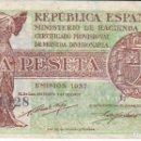 Billetes españoles: BILLETE DE ESPAÑA DE 1 PESETA REPUBLICA ESPAÑOLA DEL AÑO 1937 LETRA A EN CALIDAD EBC. Lote 146489842