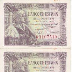 Billetes españoles: PAREJA CORRELATIVA DE 1 PESETA DEL AÑO 1945 DE ISABEL LA CATOLICA SERIE K SIN CIRCULAR (SC). Lote 146491566