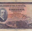 Billetes españoles: BILLETE DE 50 PESETAS DEL AÑO 1927 DE ALFONSO XIII SIN RESELLO DE LA REPUBLICA ESPAÑOLA (RARO). Lote 146515282