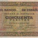 Billetes españoles: BILLETE DE BURGOS DE 50 PESETAS DEL AÑO 1938 DE LA SERIE E EN BUENA CALIDAD. Lote 146516582