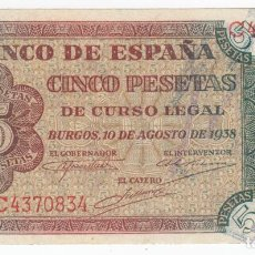 Billetes españoles: ESPAÑA: 5 PESETAS BURGOS 10 AGOSTO 1938 CALIDAD PLANCHA SERIE C . Lote 146660062