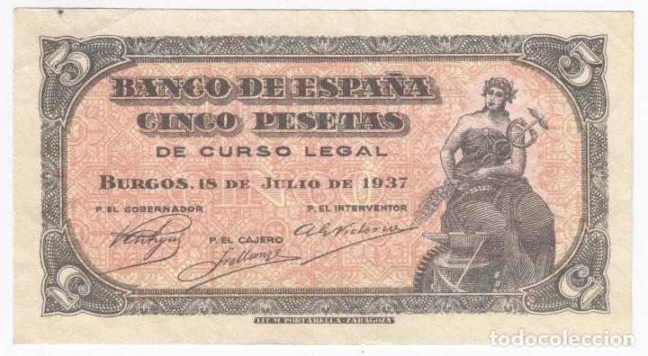 ESPAÑA: 5 PESETAS BURGOS 18 JULIO 1937 SERIE B - MUY RARO (Numismática - Notafilia - Billetes Españoles)