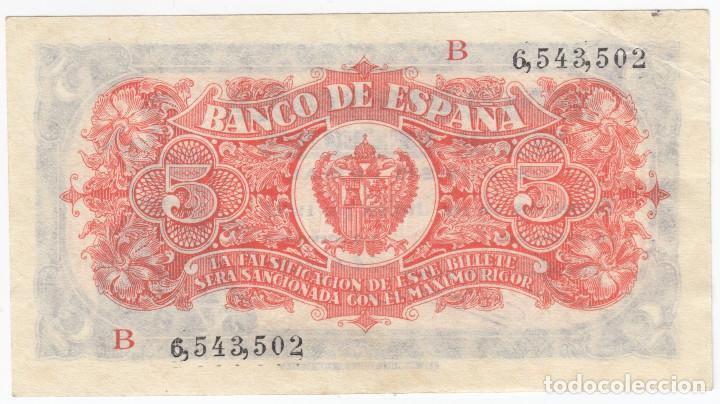Billetes españoles: ESPAÑA: 5 Pesetas Burgos 18 Julio 1937 Serie B - MUY RARO - Foto 2 - 146714926
