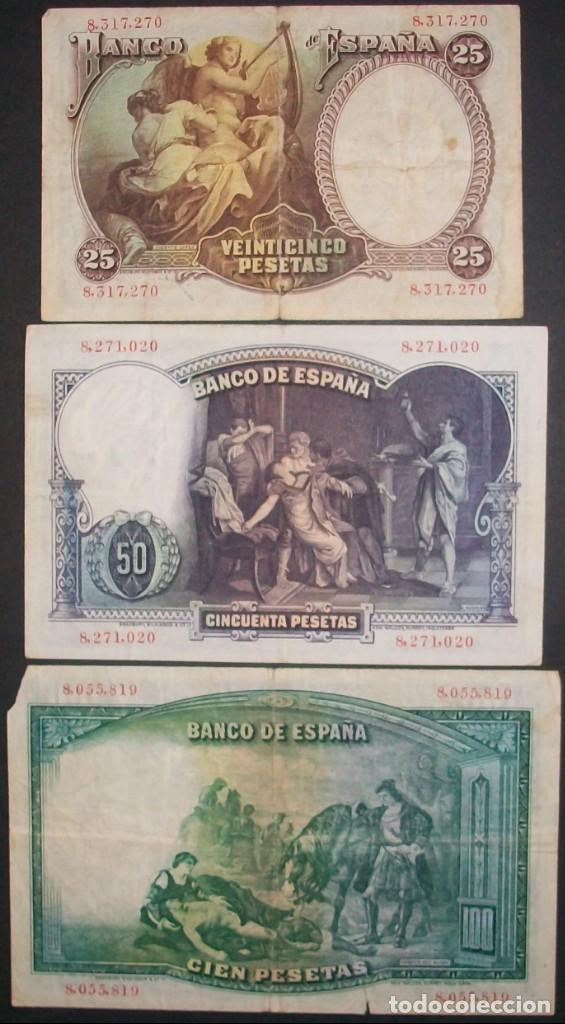 Billetes españoles: Banco de España. Lote 3 billetes 2ª República: 25, 50 y 100 Pesetas. 25 Abril 1931. Bc+ a MBC. - Foto 2 - 147021778