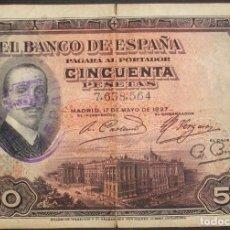 Billetes españoles: 50 PESETAS. 17 MAYO 1927. SELLO REPÚBLICA ESPAÑOLA. MBC-. Lote 147021902