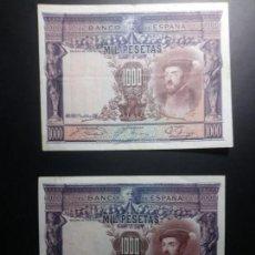 Billetes españoles: LOTE 2 BILLETES 1000 PESETAS 1926 EBC/MBC*PAGO SOLO PAYPAL**. Lote 147063466