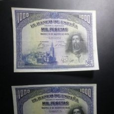 Billetes españoles: LOTE 2 BILLETES 1000 PESETAS 1928 EBC/MBC*PAGO SOLO PAYPAL**. Lote 147064818