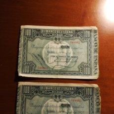 Billetes españoles: PAREJA CORRELATIVA 100 PTAS BANCO DE ESPAÑA BILBAO 1937.. Lote 147106136