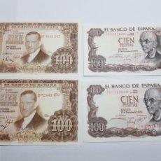 Billetes españoles: BILLETES DE ESPAÑA 100 PESETAS LOTE 4. Lote 147396060