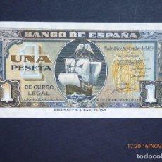 Billetes españoles: BILLETE DE 1 PTAS, CARABELAS, SIN CIRCULAR Y SIN SERIE, . Lote 147569766