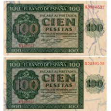 Billetes españoles: PAREJA NUMEROS CONTINUOS, 100 PTAS, 1936, EBC++LEVISIMO DOBLEZ. Lote 147570130