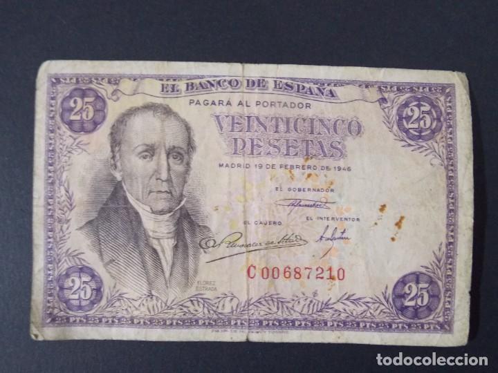 BILLETE DE 25 PESETAS AÑO 1946 - FLOREZ ESTRADA - CON SERIE C ..A1156 (Numismática - Notafilia - Billetes Españoles)