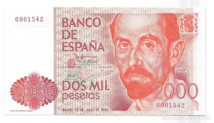 2000 PESETAS DE 1980 SIN SERIE, NUMERACIÓN BAJISIMA 0001542,SIN CIRCULAR/PLANCHA (Numismática - Notafilia - Billetes Españoles)
