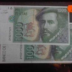 Billetes españoles: DOS BILLETES CORRELATIVOS 1000 PESETAS PLANCHA. Lote 146125338