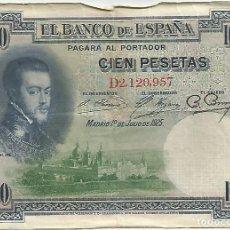 Billetes españoles: BILLETE DE 100 PESETAS DE 1925 FELIPE II SERIE D CIRCULADO. Lote 148335250