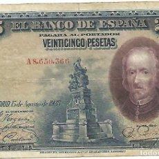 Billetes españoles: BILLETE DE 1928 DE 25 PESETAS - CALDERÓN DE LA BARCA SERIE A CIRCULADO. Lote 148337230