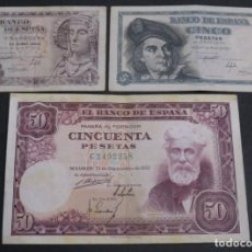 Billetes españoles: LOTE DE 3 BILLETES. Lote 148517558
