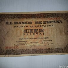 Billetes españoles: BILLETE 100 PESETAS AÑO 1938. Lote 148632802