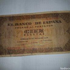 Billetes españoles: BILLETE DE 100 PESETAS DEL AÑO 1938. Lote 148634304