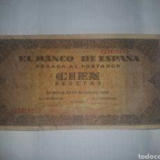 Billetes españoles: BILLETE DE 100 PESETAS DEL AÑO 1938. Lote 148648117