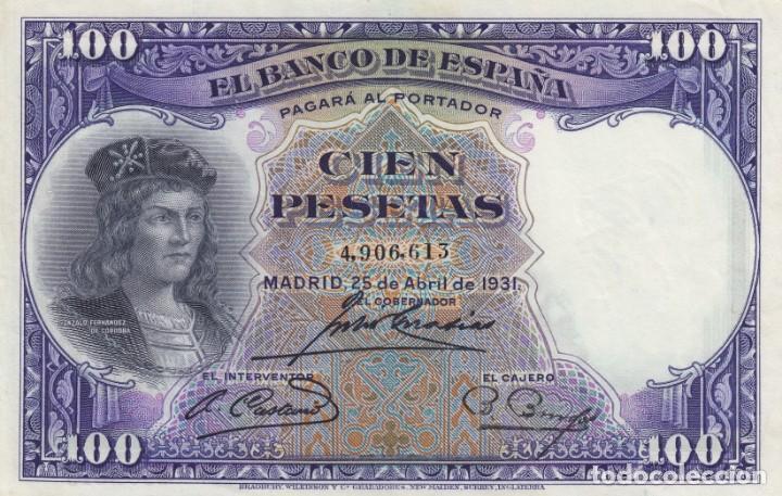 1931. 100 PESETA BILLETE DEL BANCO DE ESPAÑA. SIN SERIE (Numismática - Notafilia - Billetes Españoles)