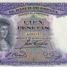 Billetes españoles: 1931. 100 PESETA BILLETE DEL BANCO DE ESPAÑA. SIN SERIE . Lote 149223910