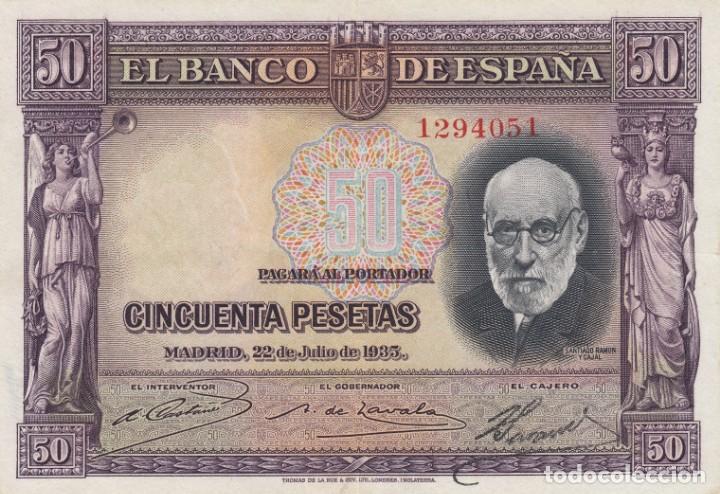 1935. 50 PESETA BILLETE DEL BANCO DE ESPAÑA. SIN SERIE (Numismática - Notafilia - Billetes Españoles)