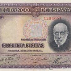 Billetes españoles: 1935. 50 PESETA BILLETE DEL BANCO DE ESPAÑA. SIN SERIE. Lote 149225562