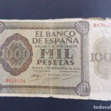 Billetes españoles: BILLETE DE 1000 PESETAS 21 DE NOVIEMBRE DE 1936 , BURGOS - CON SERIE B .. A1221. Lote 149386066