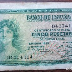 Billets espagnols: BILLETE CINCO PESETAS 1935. Lote 149389182