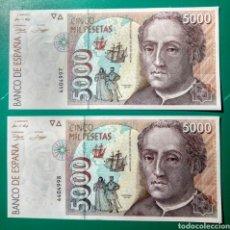 Billetes españoles: 5000 PESETAS 1992. PAREJA.SIN SERIE. SC.PLANCHA.. Lote 149653232