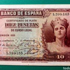 Billetes españoles: 10 PESETAS 1935. SIN SERIE. SC.. Lote 149891049