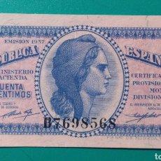 Billetes españoles: 50 CÉNTIMOS 1937. SERIE B. SC. PLANCHA.. Lote 149903657