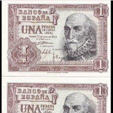 Billetes españoles: TRÍO CORRELATIVO DE 1 PESETA DE 1953 ( MARQUÉS DE SANTA CRUZ ) SERIE D SC. Lote 149983470