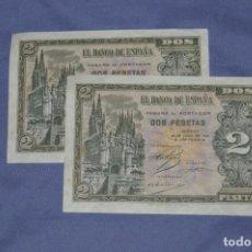 Billetes españoles: DOS BILLETES 2 PESETAS - 30 ABRIL 1938 - PLANCHA - PAREJA CORRELATIVA - SERIE H CATEDRAL DE BURGOS. Lote 150016754