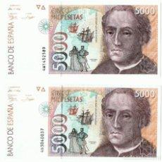 Billetes españoles: 2 BILLETES DE CINCO MIL PESETAS 12 DE OCTUBRE DE 1992 . Lote 150536282