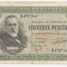 Billetes españoles: ESPAÑA - 50 PESETAS 1940 - EMISIÓN 9 DE ENERO - SERIE E - 2.707.543 - MENÉNDEZ PELAYO. Lote 129722455