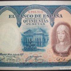 Billetes españoles: BANCO DE ESPAÑA. 500 PESETAS. 24 JULIO 1927. ISABEL LA CATÓLICA. MBC. MANCHITAS. Lote 160821234