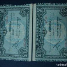 Billetes españoles: 50 PESETAS 1937 EN PAREJA DEL BANCO DE BILBAO. LIBRADO POR LA C.A.M.P. MUNICIPAL DE BILBAO.. Lote 150682462