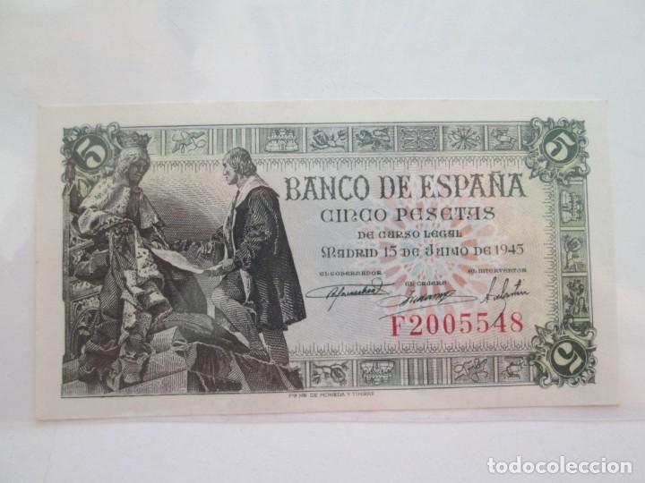 BILLETE * 5 PESETAS 15 DE JUNIO DE 1945 * S/C (Numismática - Notafilia - Billetes Españoles)