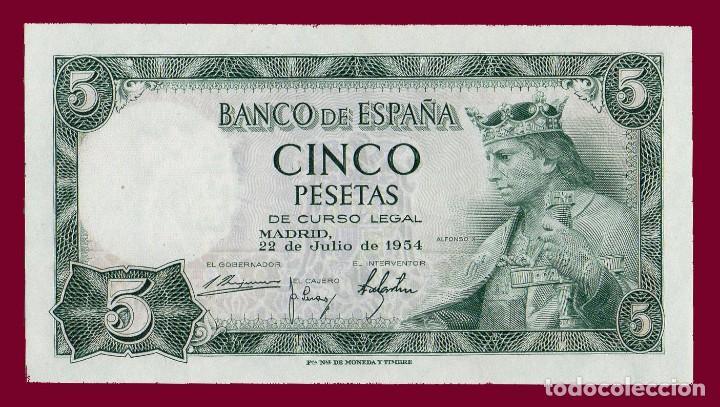 5 PESETAS DE 1954. BILLETE DE ESPAÑA, EPOCA DE FRANCO. ALFONSO X EL SABIO. MBC (Numismática - Notafilia - Billetes Españoles)