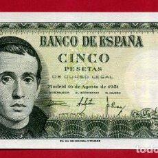 Billetes españoles: BILLETE 5 PESETAS 1951 , PLANCHA , SERIE 1L , ORIGINAL , T849. Lote 150988766