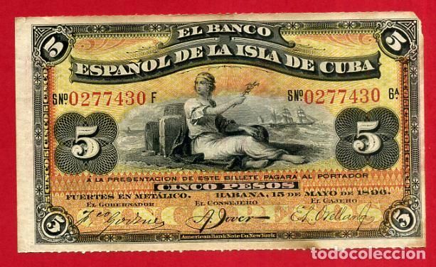 BILLETE 5 PESOS PLATA 1896, BANCO ESPAÑOL ISLA DE CUBA EPOCA ESPAÑOLA , EBC , ORIGINAL ,T430 (Numismática - Notafilia - Billetes Españoles)