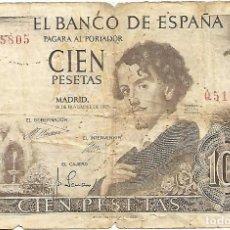 Billetes españoles: 4 BILLETES DE 100 PESETAS DE 1965-ADOLFO BECQUER-CIRCULADOS. Lote 151128810